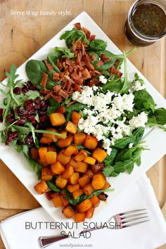 Christmas dinner-One of my family's favorite salads during fall / winter months --> Butternut Squash Salad from Nest of Posies Paleo Recipes, Real Food Recipes, Easy Recipes, Healthy Salads, Healthy Eating, Cooking Tips, Cooking Recipes, Easy Cooking, Squash Salad