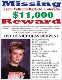 11K  REWARD: Please share to locate Dylan Redwine (13) missing from Bayfield, CO since 11/19/2012.