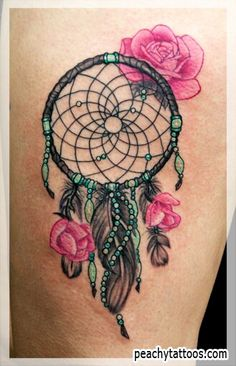 Dreamcatcher tattoo- just love the turquoise beads in the feather