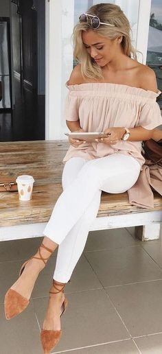 Nude Off The Shoulder Top + White Pants Source