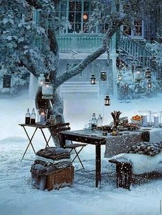 Snow Picnic,...this would be fun to do..on the frist snow of the year..there's something magical about the frist snow...