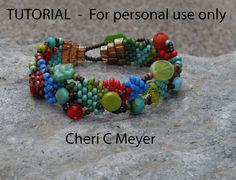 PDF TUTORIAL - perlina tessitura - forma libera punto Peyote perline braccialetto Tutorial - istruzioni solo