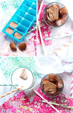 Frozen hot chocolate ice cubes