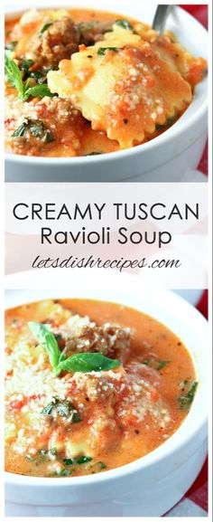 Five Approaches To Economize Transforming Your Kitchen Area Creamy Tuscan Ravioli Soup Recipe: A Creamy Tomato Based Broth Is Loaded With Cheesy Ravioli, Fresh Spinach And Italian Sausage In This Hearty, Crowd-Pleasing Soup The Whole Family Will Love. Italian Soup Recipes, Best Soup Recipes, Dinner Recipes, Healthy Recipes, Creamy Soup Recipes, Italian Sausage Ravioli Recipe, Recipes With Ravioli, Ravioli Dinner Ideas, Soup Crockpot Recipes