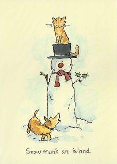 Anita Jeram - Snow Man is an island Watercolor Christmas Cards, Watercolor Cards, Christmas Illustration, Children's Book Illustration, Christmas Pictures, Christmas Art, Anita Jeram, Cat Art, Cute Drawings