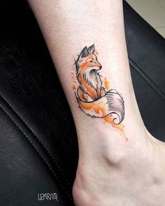 46 Adorable Fox Tattoo Designs and Ideas - TattooBloq - Watercolor Fox Tattoo on Ankle by lemraq - Et Tattoo, Ankle Tattoo, Tattoo Fonts, Back Tattoo, Tattoo Wave, Tattoo Arrow, Tattoo Moon, Feather Tattoos, Rose Tattoos