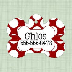 Custom Pet ID Tag Alabama Crimson Tide polka dot, Personalized Dog Tag, Identification name tag, Cat Tag, Lunch Box Tag, Bag Tag