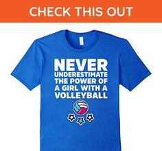Mens Never Underestimate The Power Of A Girl Cool Volleyball Tee XL Royal Blue - Sports shirts (*Amazon Partner-Link)
