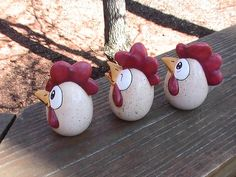 No yolk! These hand painted, egg-shaped ceramic chickens are going to crack you up! You cant help but smile when you see these happy chicken