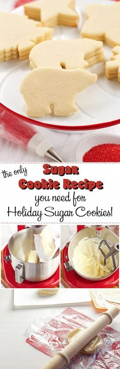 This is the ONLY Sugar Cookie Recipe You'll NEED for your Holiday Sugar Cook… - Dessert-recipes. Sugar Cookie Recipe Easy, Easy Sugar Cookies, Cookie Recipes, Dessert Recipes, Baking Recipes, Milk Recipes, Tea Cakes, Cupcake Cakes, Baking Cupcakes