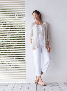Pure Jill crinkled-linen jacket and the linen slim crops