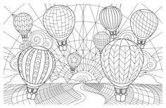 Adult Coloring Pages: Hot Air Balloon 1