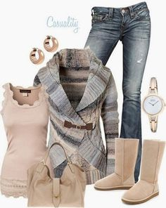 Funky Fall Outfit With Colorful Cardigan,Handbag and Long Boots - I love everything but those boots...
