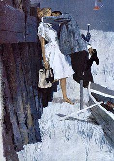 Fuchs, Bernie (b,1932)- Kissing on Beach, Nightime -2b