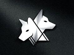 création de logo d'entreprise têtes de loup