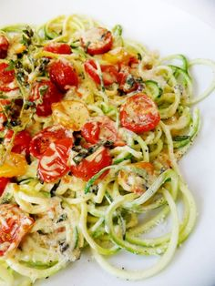 Zucchini Noodles with Slow-Roasted Cherry Tomatoes and Cream - Proud Italian Cook