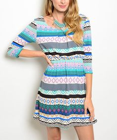 Look at this Ivory & Jade Geometric Stripe Boatneck Dress on #zulily today!