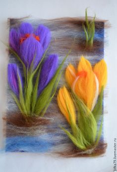 Error,Error, Oil Painting 72 Jackson Pollock Vintage Style Strings Red tulips original oil painting flowers floral painting bouquet of flowers wall art collectibles Ya Tulips flowers wool felted art painting housewarming gift home Wool Needle Felting, Needle Felting Tutorials, Needle Felted Animals, Nuno Felting, Felt Flowers, Fabric Flowers, Felt Pictures, Felt Fairy, Wool Art