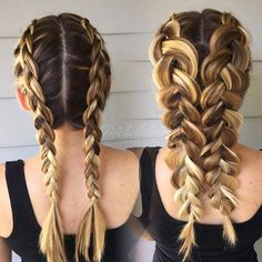B•R•A•I•D•S A visual to show the difference of  Double Dutch Braids  and the same braids pulled out (also called pancaking or fanning out a braid)