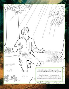 """Coloring page: """"my faith in jesus christ grows when i learn about the restoration of the gospel."""