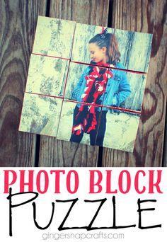 Photo Block Puzzle at GingerSnapCrafts.com #decoartprojects