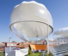 Rooftop cloud pods naturally cool the landscape with the power of evaporation!