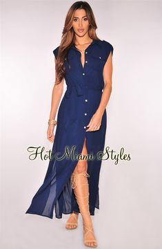 Navy Blue Button Down Sleeveless Belted Maxi Dress f941ab554b90