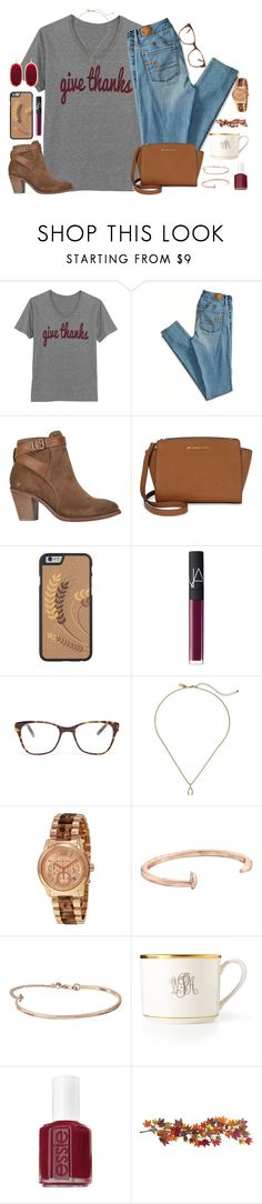"""""""happy Thanksgiving everybody!"""" by kaley-ii ❤ liked on Polyvore featuring American Eagle Outfitters, H by Hudson, Michael Kors, NARS Cosmetics, Prism, Kendra Scott, Kate Spade, Giles & Brother, Gorjana and Pickard"""
