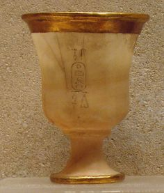 Goblet New Kingdom Dynasty 18 Reign of Thutmose III Date: ca. 1479–1425 B.C. Geography: Egypt, Upper Egypt; Thebes, Wadi Gabbanat el-Qurud, Tomb of the 3 Foreign Wives of Thutmose III, Wadi D, Tomb 1 Medium: Egyptian alabaster, gold