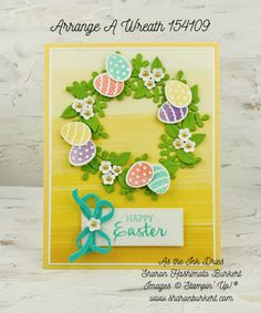 Arrange A Wreath Happy Easter Mother And Father, Stampin Up Cards, Happy Easter, Fathers Day, Paper Crafts, Diy Projects, Wreaths, Ink, Spring