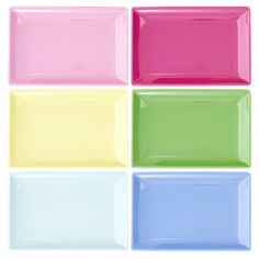 Hire rectangular party plates for 40 pence each from Make It Pop. Available in six colours.