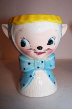 Vintage Royal Sealy Miss Priss Kitty Cat Egg Cup w/Tag | eBay