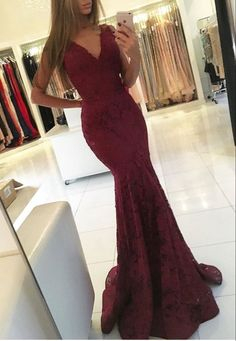 Mermaid Prom Dresses,Lace Prom Dresses,Burgundy Prom Dresses,V-neck Prom Dresses,Long Evening Dresses,Party Dresses by comigodress, $148.59 USD