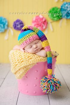 Newborn Baby Girl Elf Hat in Bright Bold Colors. $32.00, via Etsy.