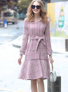 Shop Trendy Tweed Long Sleeve Knee-length Mermaid Coat at EZPOPSY. Cute Casual Outfits, Girly Outfits, Dress Outfits, Fashion Dresses, Fashion Coat, Coat Dress, Dress Skirt, Beautiful Long Dresses, Smart Outfit