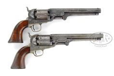 Confederate General Reuden Lindsay Walker's Pair of Engraved Colt Navy Model 1851 Percussion Revolvers