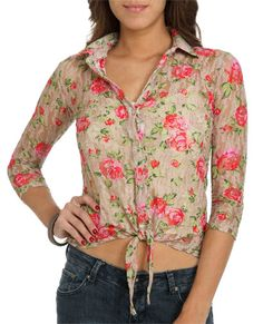 Printed Lace Tie Shirt from WetSeal.com