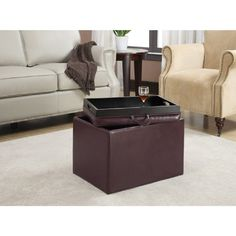 Storage Ottoman Coffe Table Tray Top Seat Cube Bench Serving Trays Foot Stool Purple. This Storage Ottoman is sure to complement any room while giving extra stockpiling. The removable cover gives simple access to storage room, and serves as a plate. Whether you're utilizing it for Storage, a tabletop or a lap plate, you'll make certain to appreciate it for a considerable length of time to come. Is made of sturdy wood construction with durable Faux Leather in Purple color. Reversible serving…