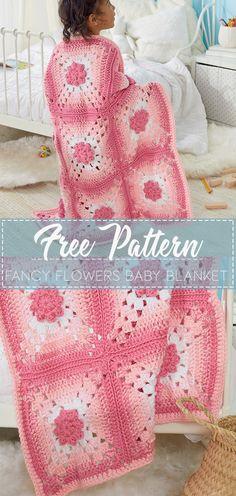Fancy Flowers Baby Blanket – Free Crochet Pattern #crochet #freecrochetpattern #crochetamd #crochetlove #diy #tutorialcrochet #videocrochet #pattern