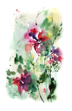 Abstract Watercolor Painting, ORIGINAL Painting, Modern Floral Watercolour Art