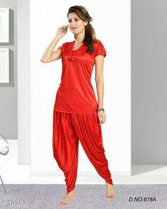 7db5eb9e20 silk shiny night suit nightie patiyala salwar suit womens XXL size free  ship  wetland