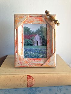 Photo Frame Detailed Wood Up Cycled Painted by PippinPost on Etsy, $16.00