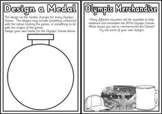 Set of printable design sheets with an Olympic theme.  Includes design a mascot, medal, logo, torch, uniform, t-shirt, general merchandise and design a mug worksheets.