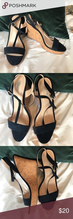 Style Charles Navy Strappy Wedges Navy Strappy Wedges. Never worn. NWOT run narrow Charles David Shoes Wedges