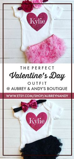 This Valentine's Day outfit is perfect for your little one! Aubrey & Andy's Boutique makes personalized baby onesie/outfits for all occasions. They offer a variety of color combinations and can work with you to get the exact outfit you'll love for your little Valentine!