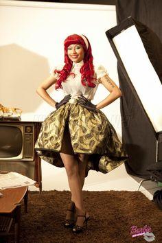 Nicky Minaj in retro clothing, VMA award promos.