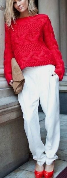 Red Cardigan and Flats Very Well Combined White Pants Street styles Fashion Look #red