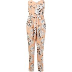 Miss Selfridge Floral Printed Jumpsuit ($26) ❤ liked on Polyvore featuring jumpsuits, rompers, jumpsuit, dresses, playsuits, assorted, red romper, floral romper, flower print romper and red jump suit