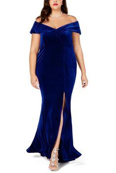 Women Plus Size Off-The-Shoulder Velvet Gown evening party dress Detail Velvet Evening Gown, Velvet Gown, Evening Dresses, Velvet Dresses, Plus Size Party Dresses, Plus Size Gowns, Blue Party Dress, Blue Gown, Dress Red