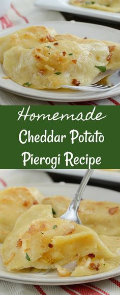 Homemade Cheddar Potato Pierogi - Recipe for authentic Ukrainian pierogies made with cheddar cheese potato filling and topped with butter and fried onions. from Meatloaf and Melodrama #Christmas #holidayrecipes
